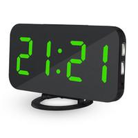 relojes de acrílico espejo al por mayor-Reloj de mesa de alarma digital LED creativo Brillo ajustable Reloj de espejo elegante Función de repetición de acrílico USB para Home Office Hotel NB
