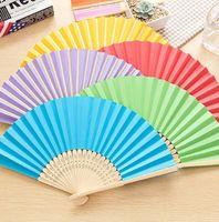 neuer handfächer großhandel-Neue heiße verkauf DIY farbe handgemalte papier fan kindergarten kinder malerei praxis fan Leere fan T4H0229