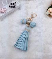 nuevos carretes al por mayor-Corea del Sur personalizado nueva perla borla de cuero bolsa colgante correa de la cadena del coche de señora