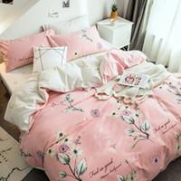 fundas de almohada moradas blancas al por mayor-Blanco púrpura Impresión de diente de león 100% algodón lijado Invierno grueso 4 unids funda nórdica sábana plana conjunto de fundas de almohada juegos de cama de color rosa
