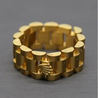 Wholesale Cool Gold Rings For Men - 24K gold plated Mens Brand Watchband ring Cool Golden Crown Stainless Steel Finger Ring for Men Punk Party Band Jewelry Retro Rings