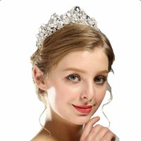 Wholesale Black Rhinestone Tiara - Luxury Crystal AB Bridal Crown Tiaras Light Gold Diadem Tiaras for Women Bride Wedding Hair Accessories