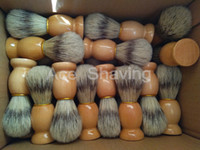 Wholesale shaving brush handles - 30 Pieces of Faux Badger Color Boar Bristle Hair Wooden Handle Shaving Brush Beard Shaver