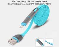 Wholesale i phone sync cable - 2 in 1 Flat noodle micro USB cable 8PIN usb data LINE sync charger cable cord line for samsung LG SONY android I-phone WITH retail packing