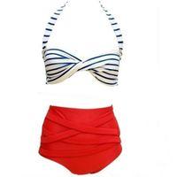 senhoras levantam biquínis venda por atacado-Senhora Swimwear Mulher Maiô Rockabilly Dot Vintage Femme Biquíni Sexy Cintura Alta Push Up Maiô Tarja 15yl V