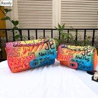 дизайнер женской сумочки оптовых-Razaly  high quality hip hop rock bags letter printed purse tote handbag graffiti bolsa feminina cartoon designer leather