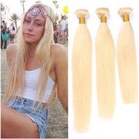 üst bakire saç uzantıları toptan satış-# 613 Sarışın Bakire Perulu İnsan Saç Dokuma Paketler 3 Adet Ipeksi Düz Ağartıcı Sarışın Virgin İnsan Saç Atkı Uzantıları Toptan