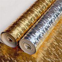 deckenwände aufkleber großhandel-Golden Silbrig Mosaik Tapete Ktv Bar Home Dekoration Abgehängte Decke Goldfolie Wandaufkleber Nicht Selbstklebende Reine Farbe 35jr bb
