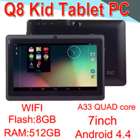 Wholesale Q8 inch tablet PC A33 Quad Core Allwinner Android Strong Capacitive MB RAM GB ROM WIFI DualCamera Flashlight Q88 CPB