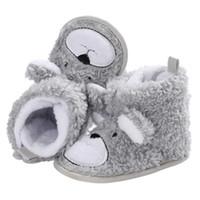 şirin çizmeler ayakkabıları toptan satış-Bebek Kış Çizmeler Bebek Yürüyor Yenidoğan Sevimli Karikatür Ayı Ayakkabı Kız Erkek Ilk Yürüyüşe Süper Tutmak Sıcak Snowfield Patik Çizme