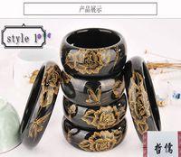 pulseira esculpida em jade venda por atacado-Pure natural Xinjiang tinta jade pulseira Mão-carved Phoenix borboleta jade pulseira Variedade de escolha Requintado jóias