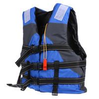 yelek avı toptan satış-Yetişkin Yüzme Can Yeleği Profesyonel Can Yeleği Sürüklenen Tekne Için Balıkçılık Düdük ile Survival Ceket Mavi