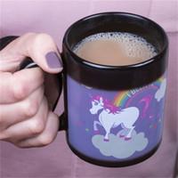 sıcaklık renk değişimi kahve fincanları toptan satış-Unicorn Renk Değişimi Seramik Kahve Kupalar Sihirli El Boyalı Sıcaklık Algılama Renk Değişim Hediyeler Karikatür Gökkuşağı Fincan 16xs C RW
