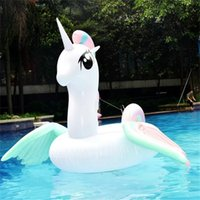ingrosso tappetino da spiaggia gonfiabile-Summer Swimming Ring Gigante gonfiabile a doppia aletta Unicorn monta fila galleggiante PVC Beach Pool Mat Toy Vendita calda 100hm Y.