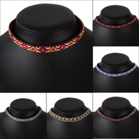 chokers china оптовых-2017 Bohemian Ethnic Embroidery Necklace China Rope Chain Embroidered Charm Choker Statement Necklaces  Jewelry For Women