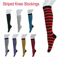 Discount knitted thigh high socks - Japanese College Sexy Cotton Socks Women Stripe Knees Girl Lady Sock Over Knee High Tube Student Soccer Socks Hot Thigh Colored Stockings
