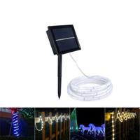 led çim süslemeleri toptan satış-SMD2835 Güneş Şerit LED Işık 100LED Güneş Enerjili Su geçirmez Şerit Şerit Bar Tüp Dış Aydınlatma Dekorasyon Bahçe Çim Lambası