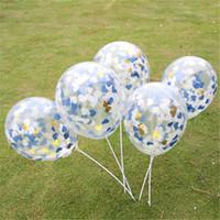 décorations bleu marine achat en gros de-Or bleu marine coeur blanc Confetti Ballon Latex Transparent fête d'anniversaire Decor, Royal Prince Party Favor