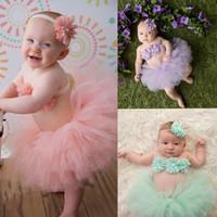 Wholesale baby balls photos for sale - Newborn infant Tutu Skirts Flower top headband set Net yarn baby photo photography props costumes suits kids lace tutu Dress C4800