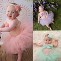 çiçek kafa bandı ağ toptan satış-Yenidoğan bebek Tutu Etekler + Çiçek üst + kafa 3 adet / takım Net iplik bebek fotoğraf fotoğrafçılığı sahne kostümleri takım elbise çocuklar dantel tutu Elbise C4800