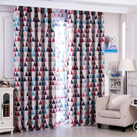 Wholesale rustic home decor - Mediterranean Rustic Style Curtain Cloth Full Light Shading Printing Triangle Window Curtains Washable Soft Home Decor Supplies yf BB