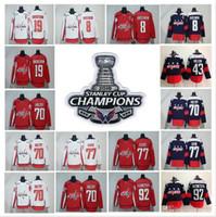 Wholesale Quick Stop - 2018 Stanley Cup Champions jersey 8 Alex Ovechkin 43 Tom Wilson 77 T.J. Oshie 19 Nicklas Backstrom 70 Braden Holtby 92 Kuznet Hockey Jerseys