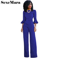 Wholesale Overalls For Ladies - Flare sleeve ruffle high waist jumpsuits for women 2017 autumn winter overalls solid color office lady wide leg rompers D31-AE96