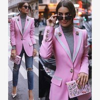 casaco exterior longo venda por atacado-Alta Qualidade 2019 Designer Blazer Mulheres Casaco de Manga Longa Floral Forro Rosa Botões Rosa Blazers Outer Jacket Feminino Tops