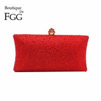Wholesale Shell Wedding Bag - Wholesale-Dazzling Red Ruby Crystal Women Evening Clutch Box Hand Bag Metal Bridal Rhinestones Shoulder Handbag Wedding Clutches Purse