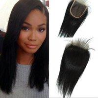 preços de extensões de cabelo preto venda por atacado-Fechamento do laço Venda Quente 4x4 Em Linha Reta Natural Preto Preço de Atacado Não Processado Bazilian Extensões de Cabelo Humano G-EASY
