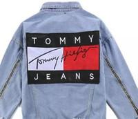 camiseta mulheres denim venda por atacado-Moda casual Marca jeans mulheres tops primavera e no outono harajuku verão t camisas Sweatsh homens mulheres roupas jaqueta jeans