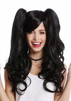pelucas negras pelucas largas al por mayor-LMJF585 nueva moda pelo largo y rizado salud negro 2 pelucas largas Ponytails peluca de las mujeres