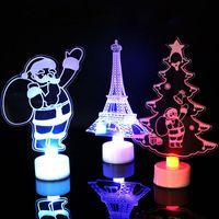 décorations 3d santa snowman 3d achat en gros de-Noël LED Veilleuse 3D Clignotant Coloré lampe de table Sapin De Noël Père Noël tour de bonhomme de neige Parti Décoration GGA1132
