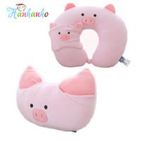 Discount cartoon travel pillows - Pink Pig Cushion Children Travel Pillow Cartoon U shape Cushion Headrest Soft Neck Pillow Toys for Girl