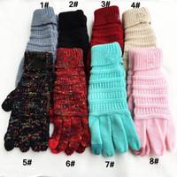 ingrosso guanti invernali adulti-8 colori inverno caldo nuovo caldo Europa e Stati Uniti lana per adulti guanti pieno dito guanti touch screen a maglia