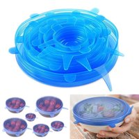 silikon kaplar toptan satış-6 Adet / takım 4 Renk Silikon Streç Emme Pot Kapakları Gıda Sınıfı Taze Tutma Wrap Mühür Kapak Pan Kapak Mutfak Aksesuarları B