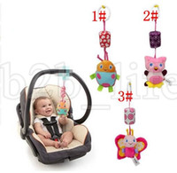 Wholesale toy baby doll strollers - Baby Rattle Toy Cartoon Animal Baby Owl Butterfly Stroller Bed Hanging Bell Plush Dolls Toys Baby Rattle toy LJJK1016