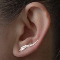ingrosso polsini in orecchino della piuma-Orecchini con cingoli per donna: orecchini con paraorecchie in platino con orecchino a forma di orecchio
