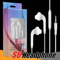 kulakiçi mikrofonlu ses kontrolü iphone toptan satış-S6 S7 iPhone 6 6 s Için Kulaklık Kulaklık Jack Kulaklıklar Için Kulak Mic Ile Kablolu Kulaklıklar Ses Kontrolü 3.5mm Paketi Ile
