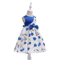 orta boy etekler toptan satış-2018 yeni orta boy çocuk Avrupa ve Amerikan Prenses elbise kız kiraz baskı elbise elbise çocuk etek