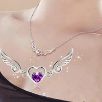 pendentif anges achat en gros de-En gros S925 Silver Dream Angels Collier Amour Coeur Collier Wings Pendentif Dames D'anniversaire Femme Cadeau Cristal Bijoux Femmes Bijoux