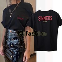 Wholesale Oversize Tshirt - 18ss Luxury Europe Milano Paris High quality Oversize Tshirt Fashion Men Women Sinners Golden Print T Shirt Casual Cotton Tee Top