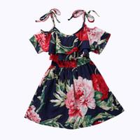 limon damlası toptan satış-Toddler Bebek Kız tunik Elbise Yaz Çiçek Prenses çocuklar sundress baskı damla omuz kız Elbise