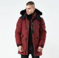 melhores casacos para homens venda por atacado-Melhor Qualidade Homens Grosso Outerwear Frete Grátis 4 Cores Com Capuz Slim Fit Casacos de Inverno Gola De Pele Quente Casuais Jaquetas