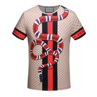 Wholesale High End T Shirts - summer new high-end men's brand t-shirt fashion short sleeve snake printing fashion t shirt Men's Tops Tees