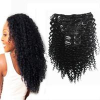 remy insan saç uzatma renkleri toptan satış-Remy Perulu Saç Siyah Kadınlar Için Afro Kinky Kıvırcık İnsan Saç Uzantıları Klip 7 Adet / takım 100g Nautral Renk 10 Renkler Mevcut