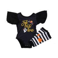 Discount girls striped ruffle leggings - Floral Pig Baby Girls Rompers Leggings Suits Ruffle Frill Sleeve Halloween Ghost Pumpkin Boo Letter Printed Striped Leggings Newborn Onesies