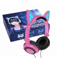 Wholesale cartoon headphones wired headband online - Cosplay Cartoon Cat Ear Design LED Light Glowing On Ear Headphones PC Laptop Computer Gaming Noise Cancelling Earphone For Kids