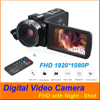 Wholesale 3 quot Touch screen FHD P X Digital Zoom CMOS Lens MP Digital Video Cameras Camcorder DV with Night shot Hotshoe Remote Control by DHL