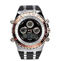 большие мужские спортивные часы оптовых-2018 Высокое качество повседневная мода Big Face Спортивные часы для мужчин, Водонепроницаемые военные наручные цифровые часы в черном силиконовом ремешке